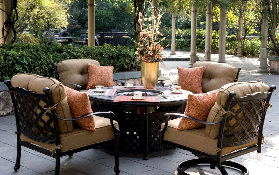 Patio Furniture Deep Seating Chat Group Cast Aluminum Fire ...