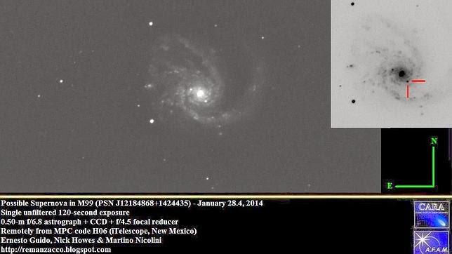 Una tercera supernova aparece en el cielo