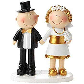 Bride and Groom Wedding Cake Topper   Gold 50th
