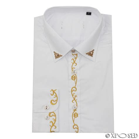 Mens White Vintage Wedding Party Dress Gold Embroidery
