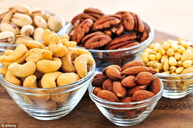 Omega-6 oils are found in nuts such as pecan, almonds, cashews and pistachios (pictured)