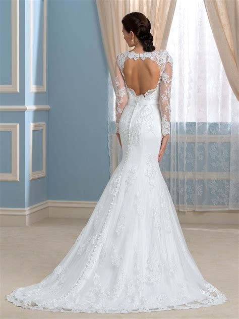 Mermaid Wedding Dress with Open Back and Lace Long Sleeve