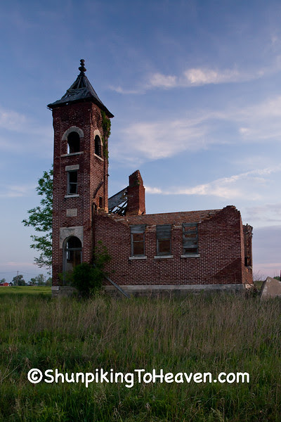 Ruins of Oak Grove School, 1913, Jay County, Indiana