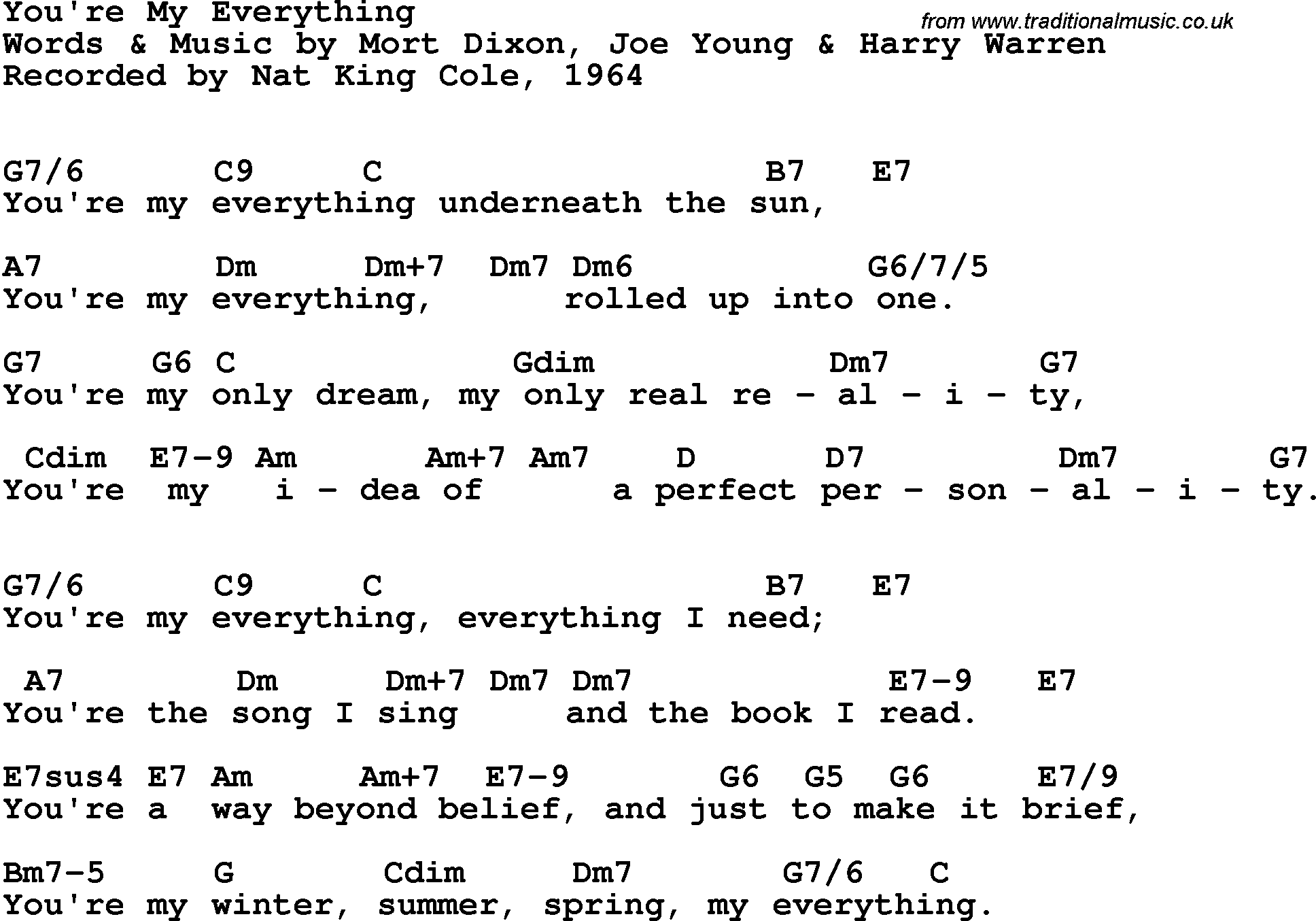 Song Lyrics With Guitar Chords For Youre My Everything Nat King