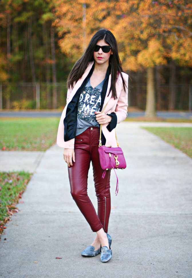 Galaxy print, Pink blazer, leather pants