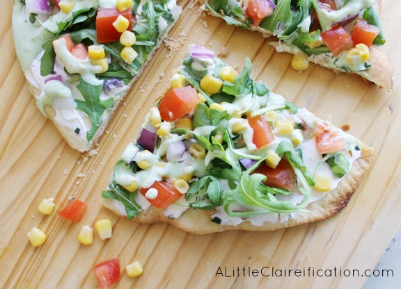 Veggie Flatbread with Cilantro Lime Dressing by ALittleClaireification.com #recipe #vegetarian #flatbread