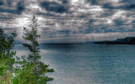 hd rain  lake superior hdr wallpaper