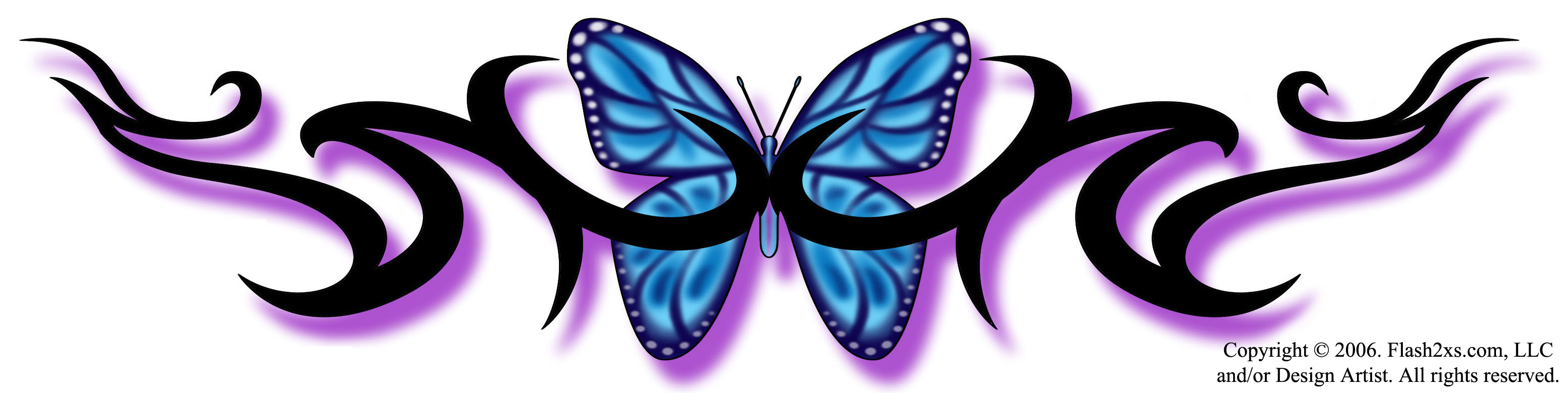 Blue Purple Butterfly Tattoo Photo 6 2017 Real Photo Pictures