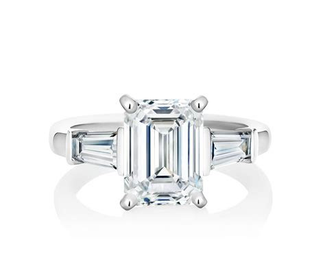 DB Classic Platinum Emerald Cut Engagement Ring   De Beers