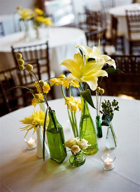 Southern weddings   green bottle centerpieces
