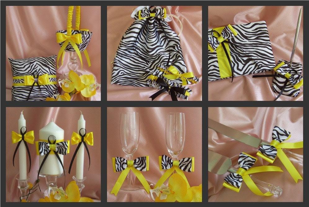 Zebra Print Wedding Basket Pillow Guest Book Bag Garters Candle