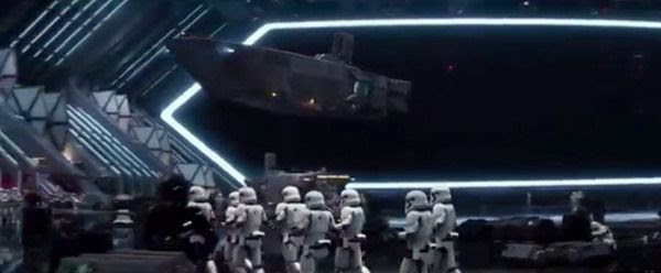 A Stormtrooper transport enters the hangar of a First Order Star Destroyer in STAR WARS: THE FORCE AWAKENS.