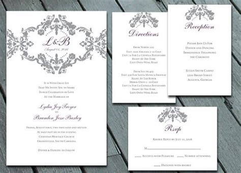 Damask WEDDING Invitation Suite With RSVP, Info Card