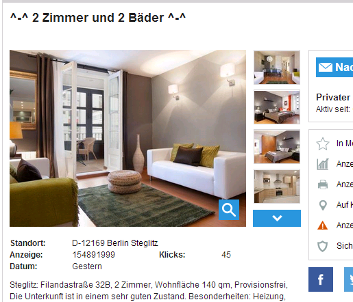 2 zimmer und 2 b der filandastra e 32b 12169 berlin. Black Bedroom Furniture Sets. Home Design Ideas