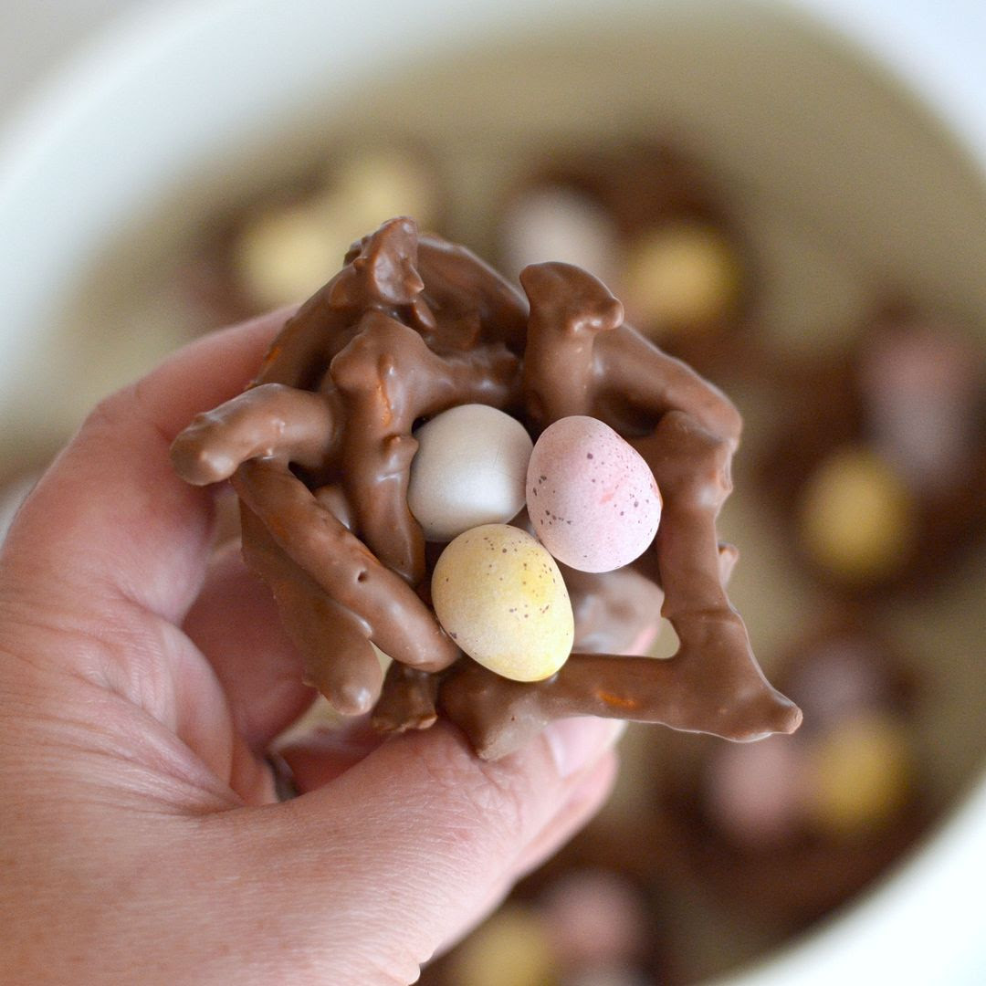 Chocolate Pretzel Easter Nests