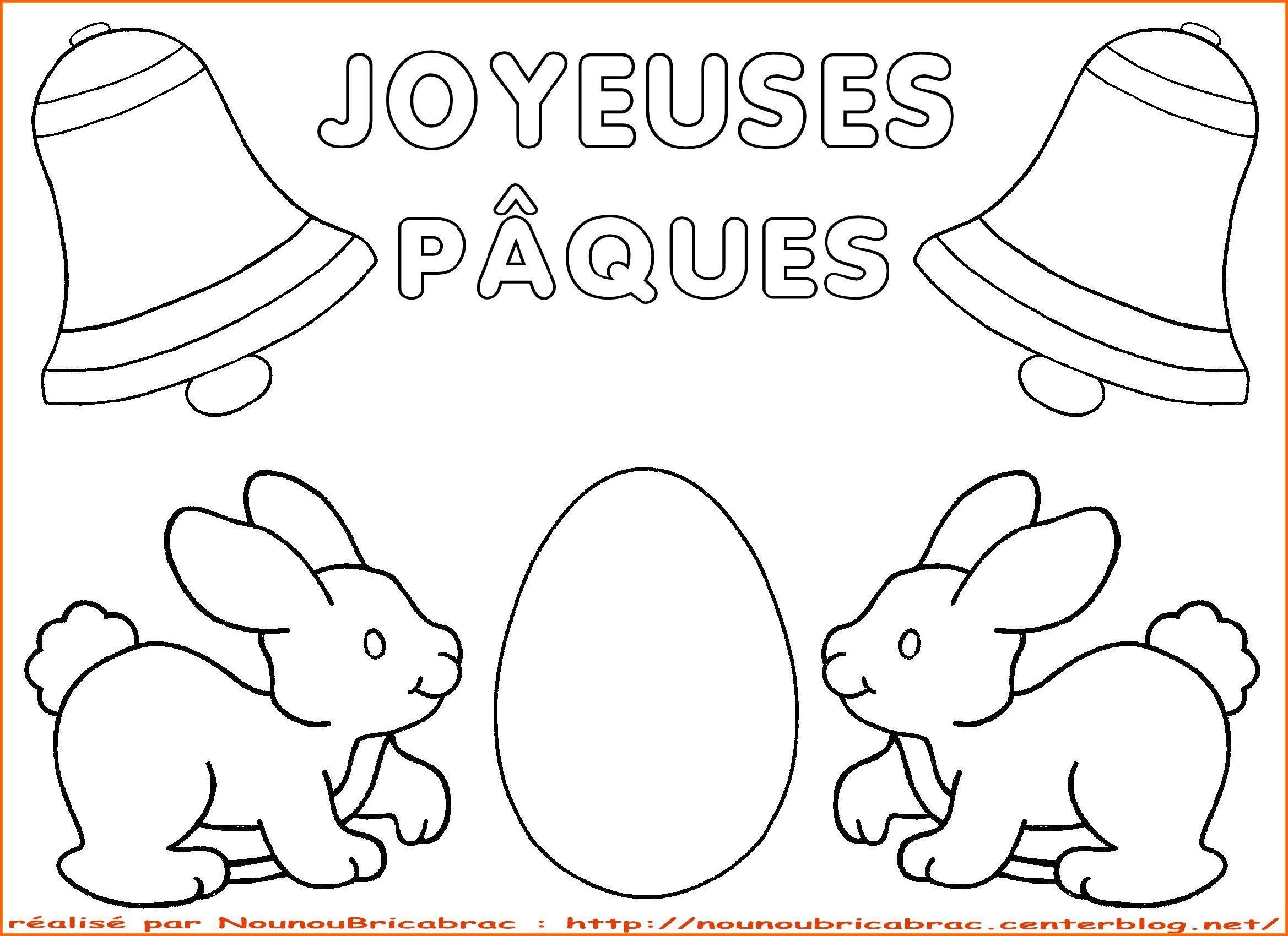 Lapins et oeuf surprise Joyeuses P¢ques  colorier