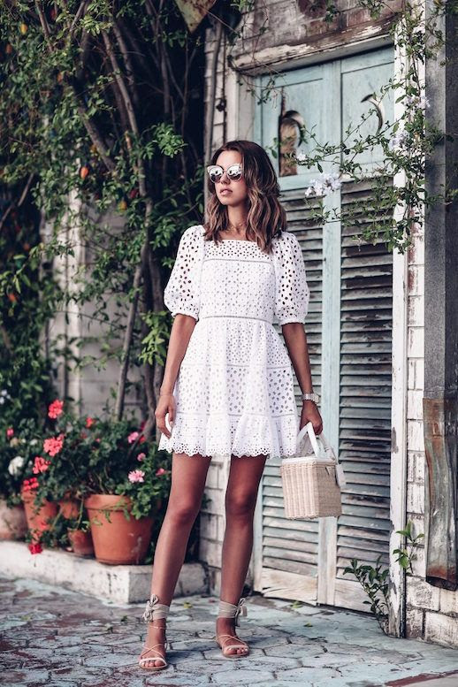 Le Fashion Blog Date Night Eyelet Lace White Dress Wicker Tote Nude Sandals Via The Viva Luxury