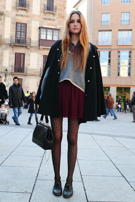 Casual styling of polka dot tights