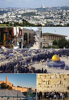 Depuis le haut à droite: Panorama de Jérusalem vu depuis Givat ha'Arba, Mamilla, la vieille ville et le dôme du Rocher, un souk de la vieille ville, le bâtiment de la Knesset, le Mur occidental, la Tour de David et les murs de la vieille ville