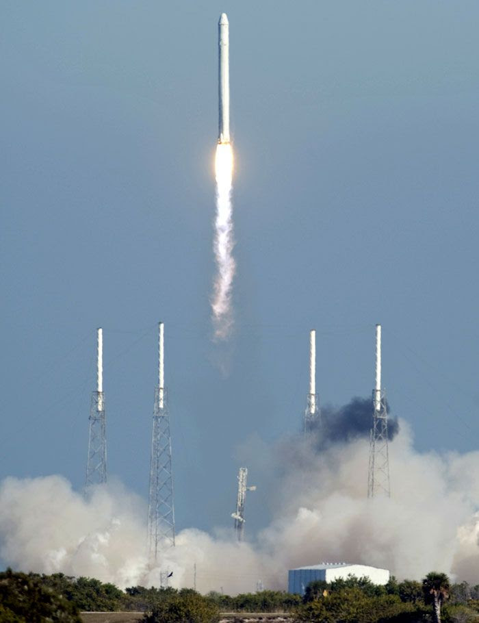 A Falcon 9 rocket carrying SpaceX's first fully operational Dragon vehicle launches from Cape Canaveral Air Force Station in Florida, on December 8, 2010.