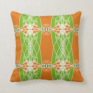 Throw Pillow with Orange and Green Medley