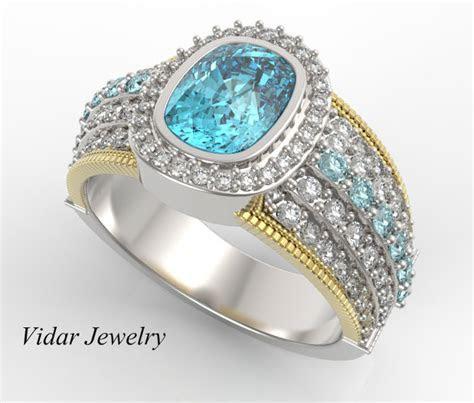Mens Wedding Band Cushion Cut Aquamarine Diamonds Wedding