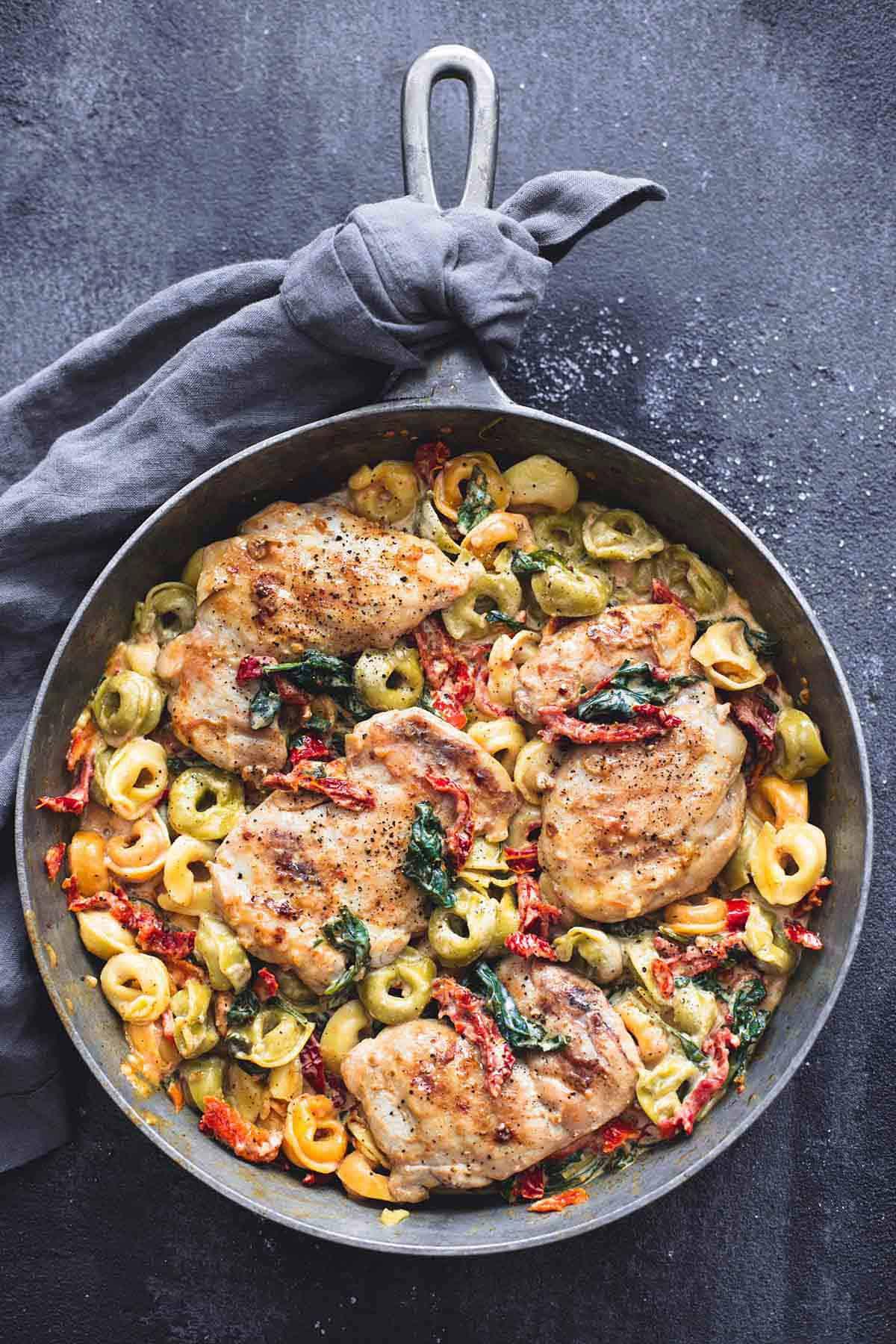 One Pan Tuscan Garlic Chicken Tortellini | lecremedelacrumb.com