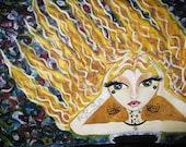 Kenna Hear No Evil Original Mixed Media Art by Leslie Rodriguez - leslierodriguez