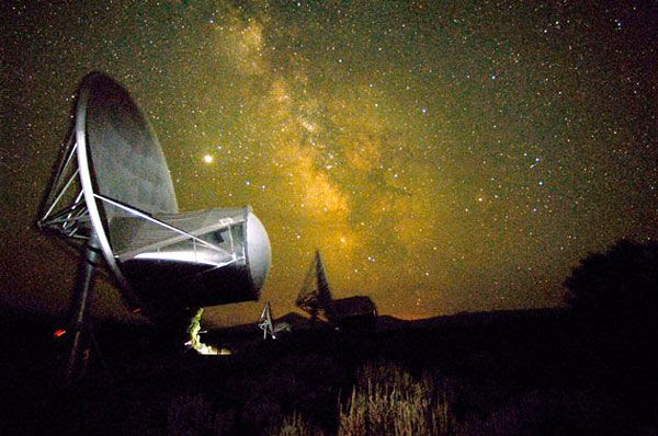 The Milky Way is visible above the Allen Telescope Array...which is located 300 miles northeast of San Francisco.
