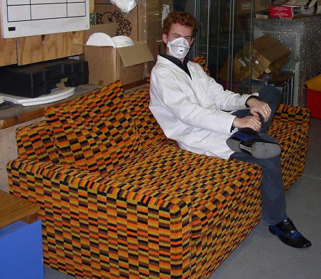 Anthony on District Line Moquette Sofa - Acton Museum Depot Open Day