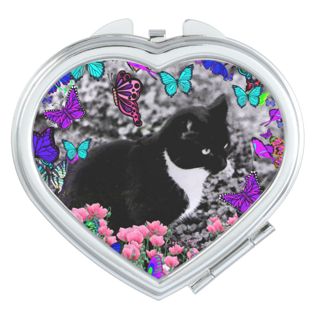 Freckles in Butterflies III, Tux Kitty Cat Travel Mirrors