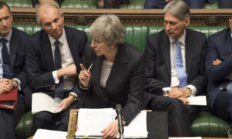 Britain's Prime Minister Theresa May addressing Parliament on the current Brexit negotiations with the European Union.
