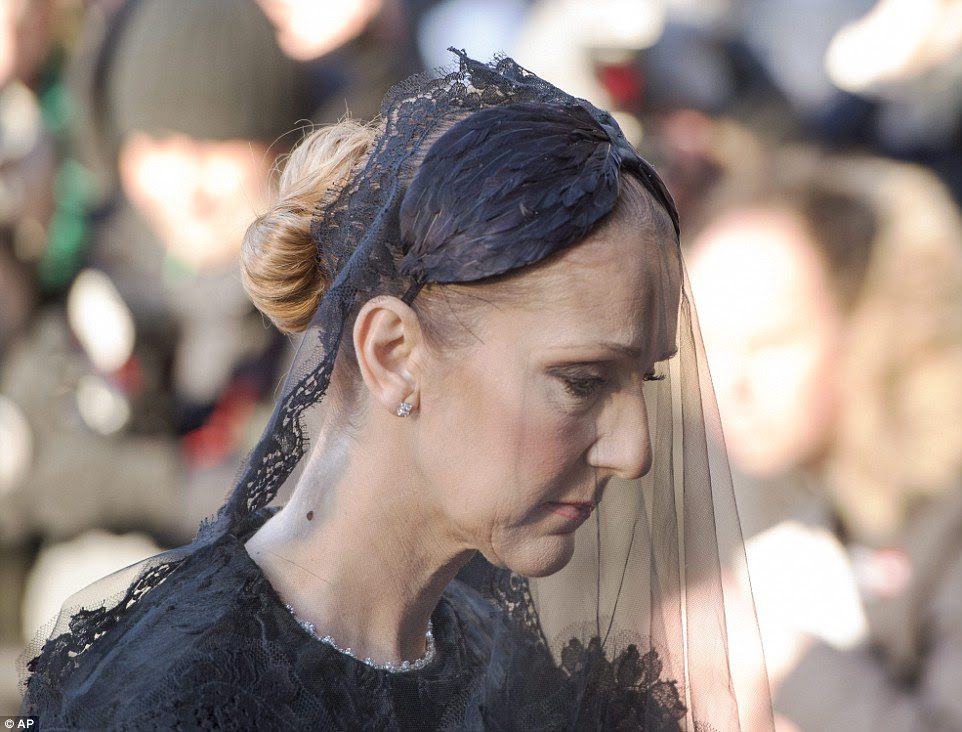 Celine wore a full-sleeve black dress and a full black veil to the service in honor of her late husband