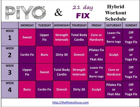 piyo hybrid workout schedules  calendar downloads