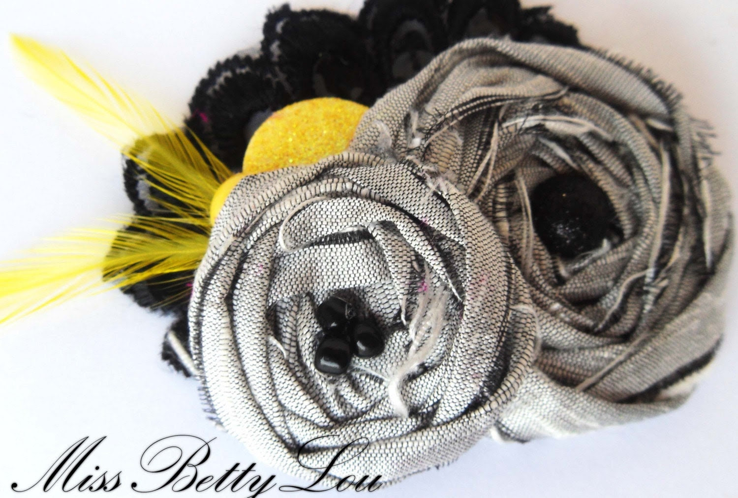Romantic Gray, Yellow and Black Lace Hair Clip