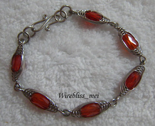 Wire Wrapped HBW Bracelet & Ring with glass crystal