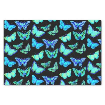 Spooky Black Blue Butterfly Moth Tissue Paper