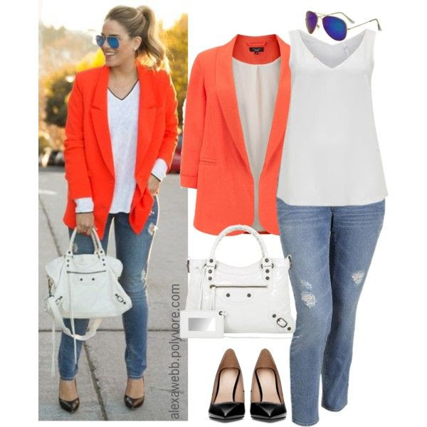 "#plus #size #fashion ""Straight to Plus Size - Orange Blazer"" by alexawebb on Polyvore"