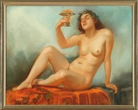 naked woman holding a centrepiece with jewellery by gudmund herman peter hentze