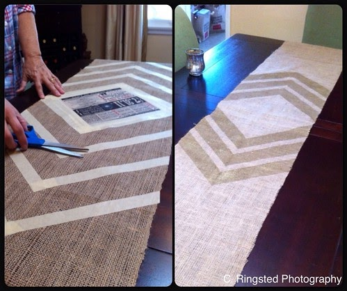 luna see diy diy burlap gold chevron table runner. Black Bedroom Furniture Sets. Home Design Ideas