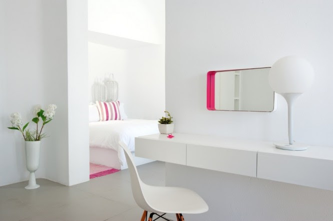 santorini grace pink and white decor