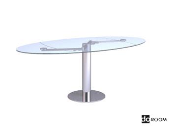 Cam yüzeyi oval masa