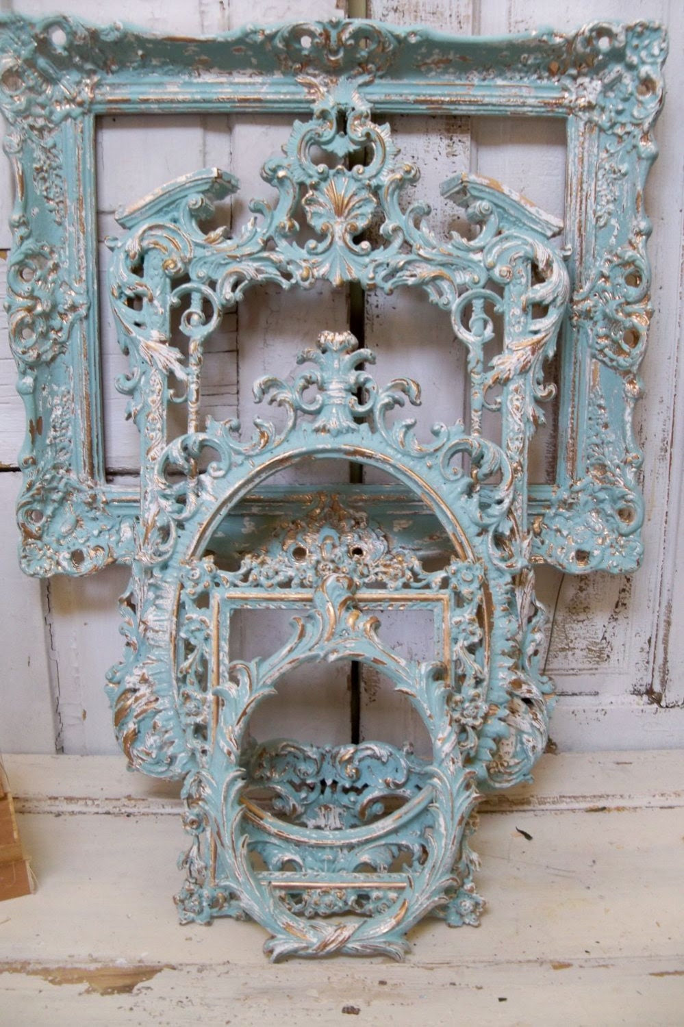 Frame grouping ornate very light blue aqua with white distressed French chic vintage wall decor Anita Spero - AnitaSperoDesign
