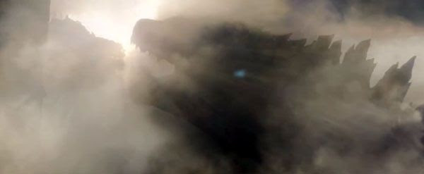 Godzilla emerges from a cloud of smoke in 2014's GODZILLA.