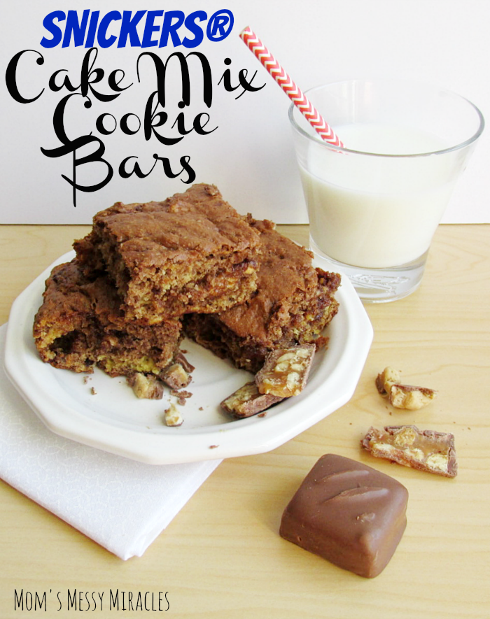 Snickers Cake Mix Cookie Bars by Mom's Messy Miracles