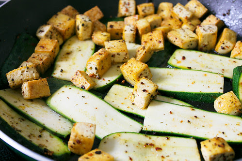 tofu and courgette
