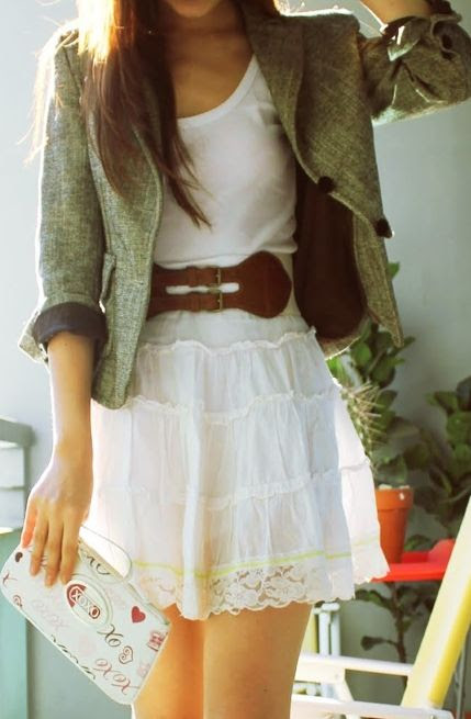 lace skirt + belt