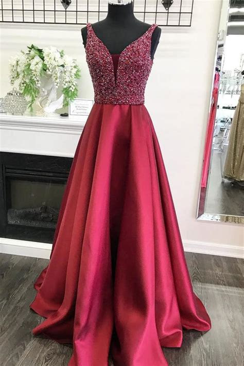 Burgundy Satin A line V neck Beaded Bodice Long Prom