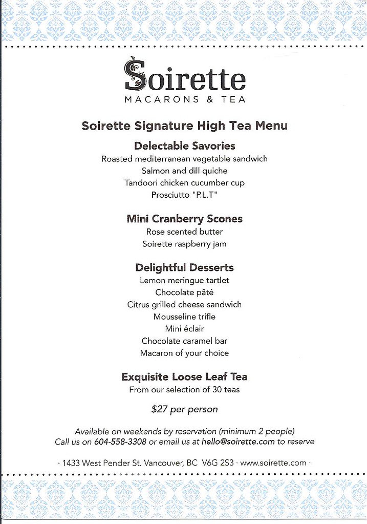 2012-Nov-10 Soirette High Tea Menu