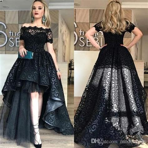 Modest Black High Low Lace Prom Dresses 2018 Bateau Short